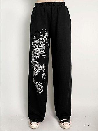 Calça Wide Leg Oriental Dragon Preta