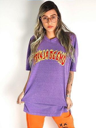 Camiseta Mastrobiso Boy Over Franja de Emo Roxa