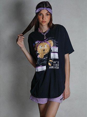 Camiseta Boyfriend 00´s Kids Forever Preto