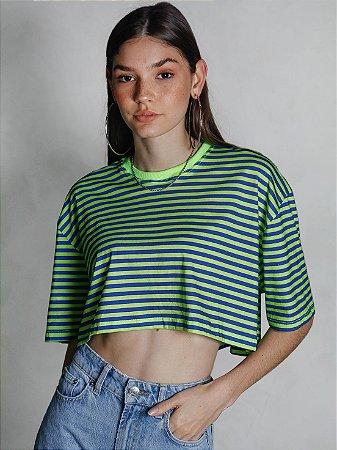 Cropped Boy Listrado Azul/Verde Neon