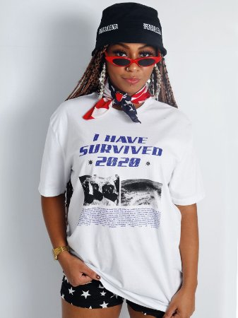 Camiseta Boyfriend I Survived 2020 Branco