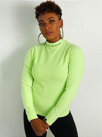 Camiseta Segunda Pele Manga Longa Arame Farpado Verde Neon