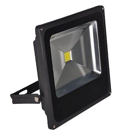 Refletor Holofote LED 50w Branco Frio 6000k Preto