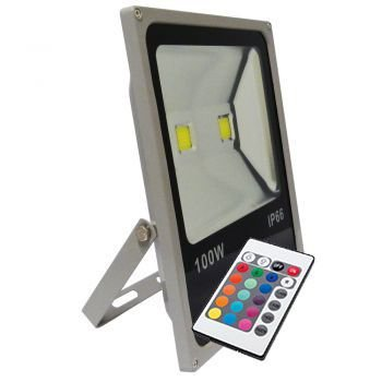 Refletor Holofote LED 100w RGB Colorido c/ Controle