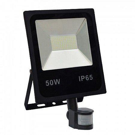 Refletor Holofote MicroLED 50w Sensor de Presença Branco
