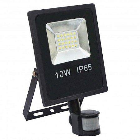 Refletor Holofote MicroLED 10w Sensor de Presença Branco Frio 6000k