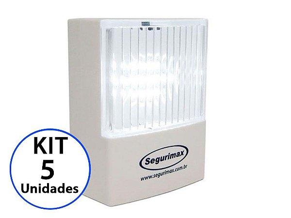 Kit 5 Luminária de Emergência LED 50 Lúmens | Plug Retrátil