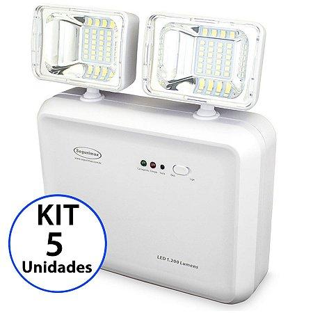 Kit 5 Luminária de Emergência LED 1200 Lúmens | 2 Faróis