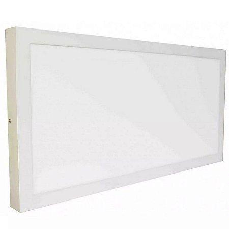 Luminária Plafon 30x60 48W LED Sobrepor Branco Frio 6000k Borda Branca