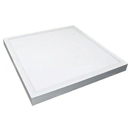 Luminária Plafon 60x60 48W LED Sobrepor Branco Quente 3000K Borda Branca
