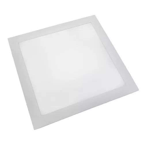 Luminária Plafon 40x40 42W LED Embutir Branco Frio 6000k Borda Branca