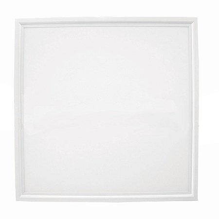 Luminária Plafon 62x62 48W LED Embutir Branco Quente 3000K Borda Branca