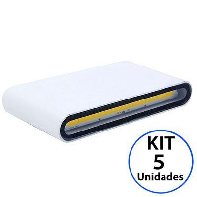 Kit 5 Luminária Arandela LED 12W Branco Quente 3000K Externa