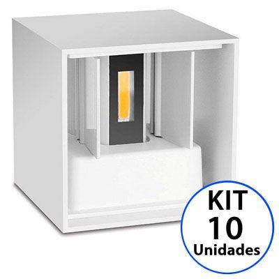 Kit 10 Luminária Arandela LED 12W Branco Quente 3000K Cubo