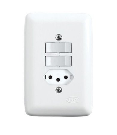 Conjunto 1 Interruptor Simples + 1 Interruptor Paralelo + 1 Tomada 2P+T de Embutir 10A Branco