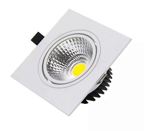 Spot LED COB 5W Quadrado Embutir Direcionável Branco Quente 3000K
