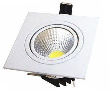 Spot LED COB 5W Quadrado Embutir Direcionável Branco Frio 6000k
