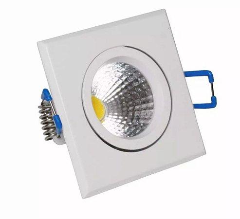 Spot LED COB 3W Quadrado Embutir Direcionável Branco Frio 6000k