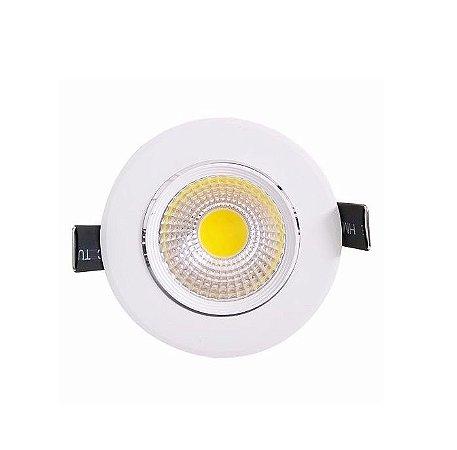 Spot LED COB 3W Embutir Redondo Direcionável Branco Quente 3000K