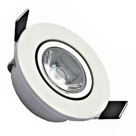 Spot LED COB 1W Embutir Redondo Direcionável Branco Quente 3000K