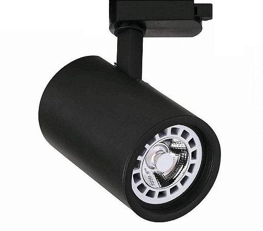 Spot LED Cob 30w 3500K para Trilho Eletrificado Preto