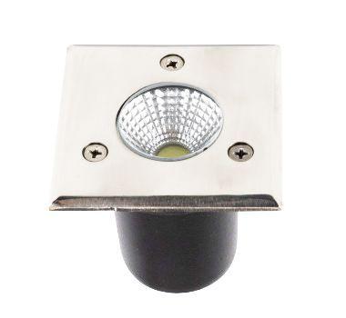 Spot Balizador LED de Chão COB 3W Quadrado Branco Frio 6000k para Piso