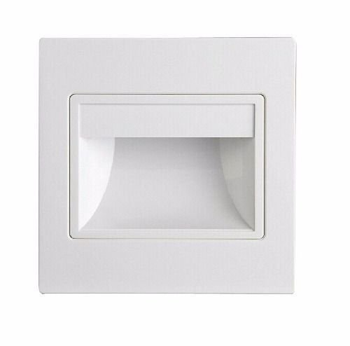Balizador LED 3W De Embutir Quadrado Branco Quente 3000K