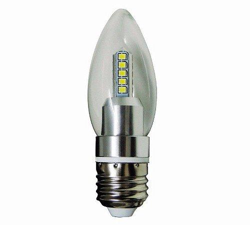 Lâmpada Vela LED Transparente 5W Bivolt Branco Quente 3000K E27