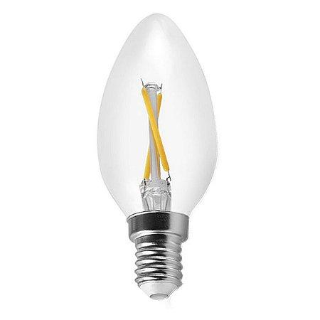 Lâmpada LED Vela 2W Cristal Branco Quente 3000K Filamento