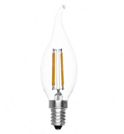 Lâmpada LED Vela 2W Chama Cristal Branco Quente 3000K Filamento