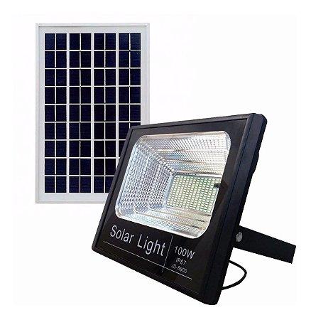 Refletor Holofote Led 100w Placa Painel Solar + Controle