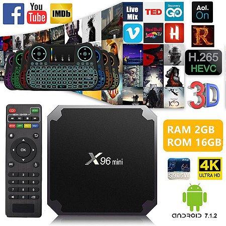 Tv Box x96 mini 4k Quadcore 2gb/16gb Android 7.1 +Teclado Led