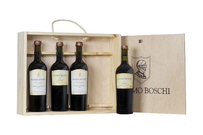 Caixa de Madeira para 4 garrafas de 750 mL