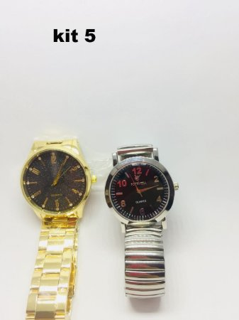 Relógio Feminino Barato Dourado Kit C 2 Peças Pronta Entrega