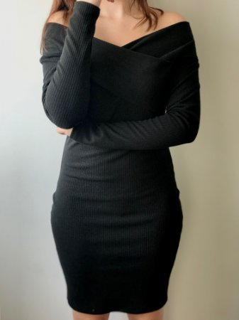 Vestido Ombro Manga Longa