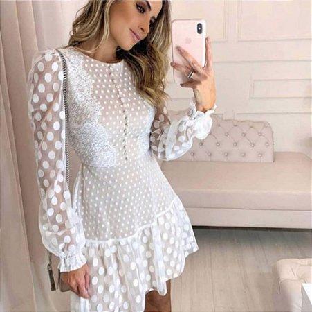 Vestido Lore Poá Branco