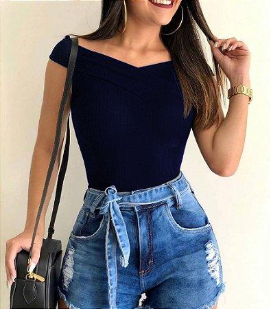 Body Ombro à Ombro Decote Azul Marinho