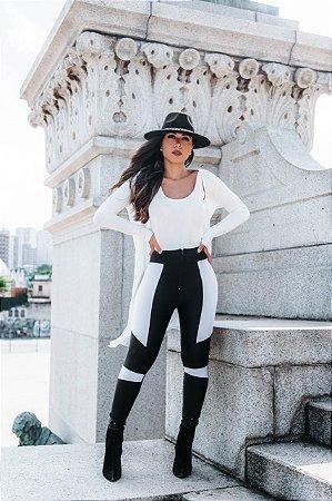 Calça Prada Skinny Bicolor Preto/Branco