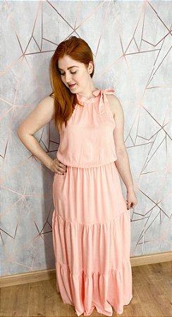Vestido Gola Alta Rose
