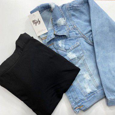 BOX - Saia Ana Preta + Jaqueta Jeans Destroyed