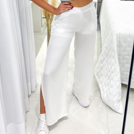 Calça Pantalona Fenda Branca