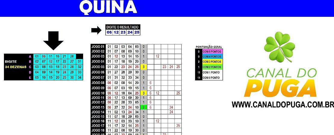Planilha Quina - Esquema com 34 Dezenas em 25 Jogos