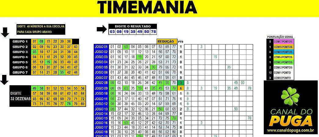 Planilha Timemania - Esquema com 80 Dezenas em 25 Jogos