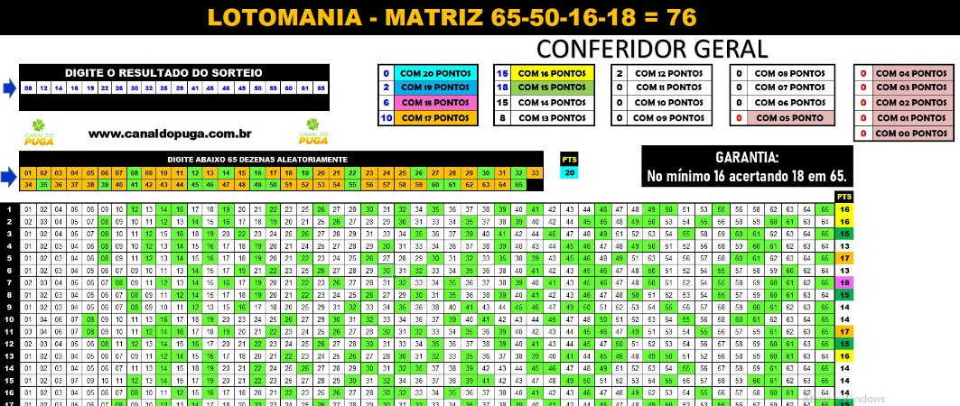 Planilha Lotomania - Esquema com 65 Dezenas Combinadas