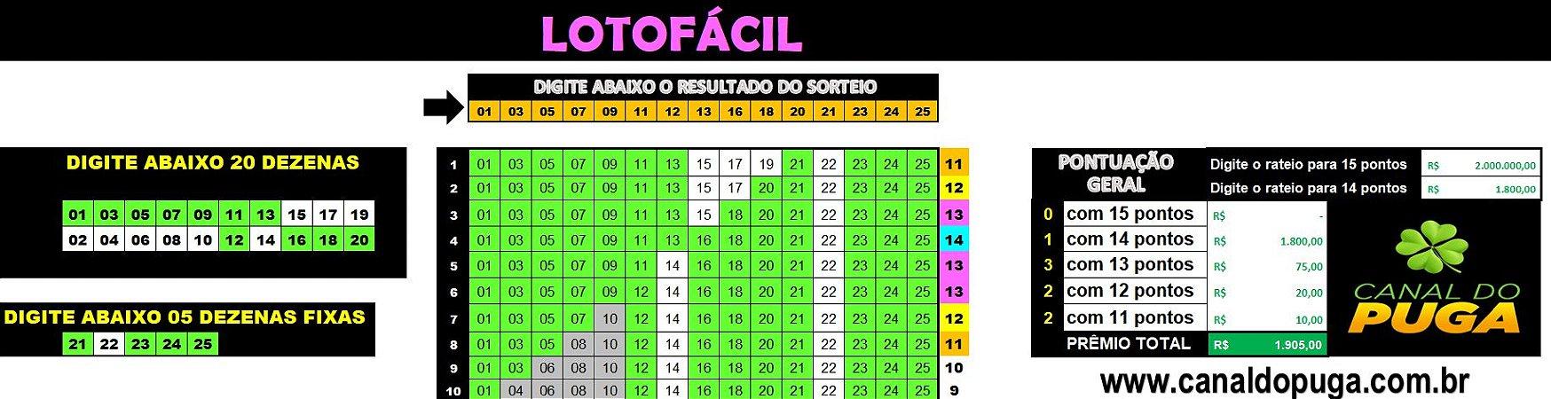 Planilha Lotofacil - Esquema com 20 Dezenas em Camadas