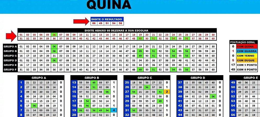 Planilha Quina - Esquema 60 Dezenas Com Redução