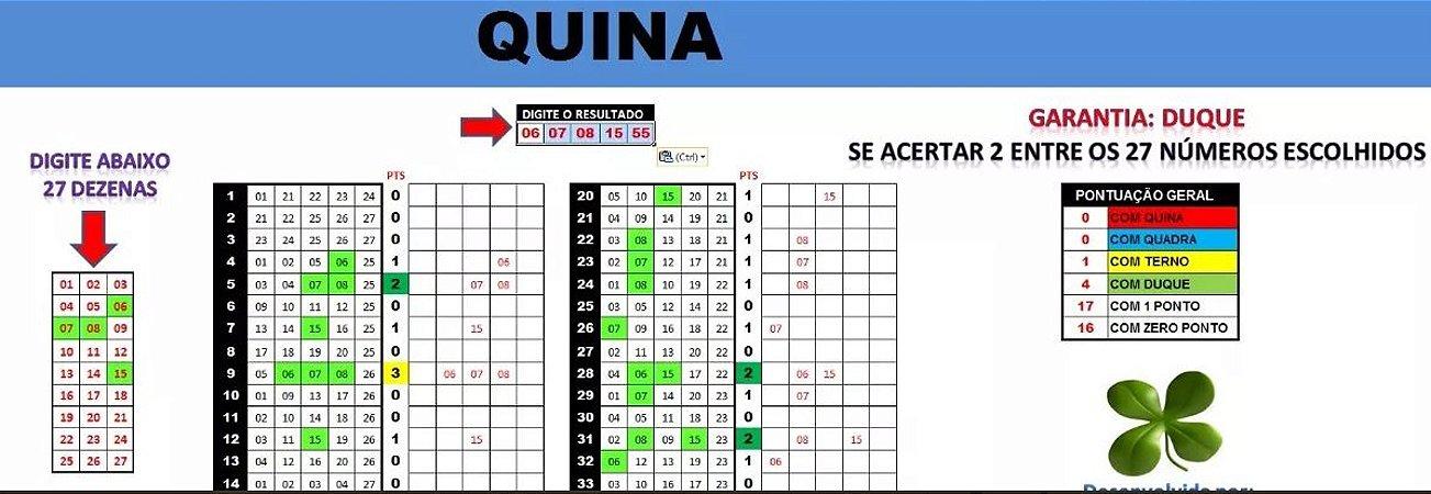 Planilha Quina - Esquema 27 Dezenas Com Garantia