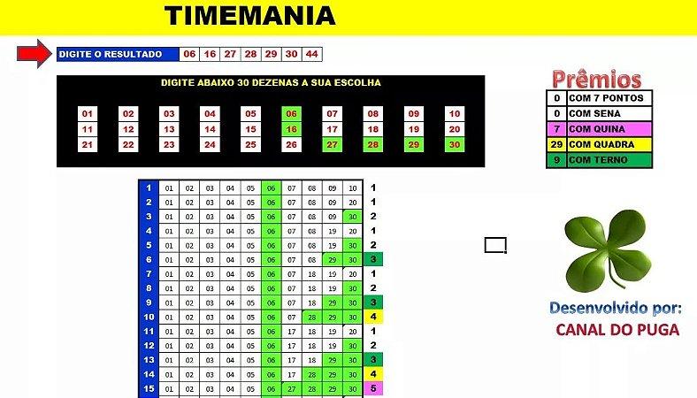 Planilha Timemania - Esquema Com 30 Dezenas Em Camadas