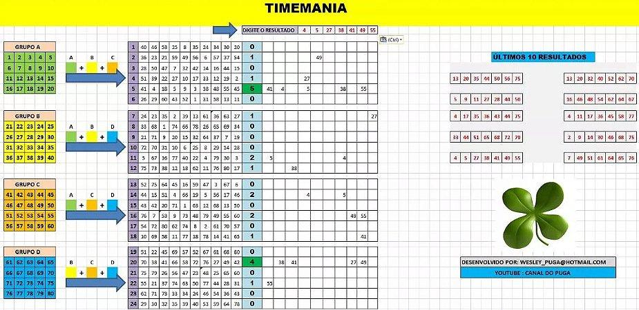 Planilha Timemania - Sistema De Redução