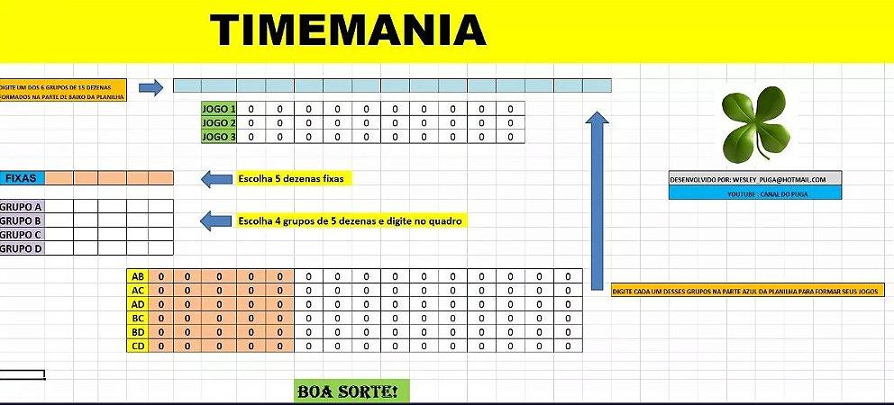 Planilha Timemania - Esquema Com Apenas 3 Bilhetes